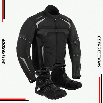 Mens Motorbike Waterproof Jacket Boot Motorcycle Armoured Leather Shoes Touring