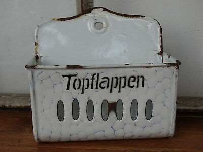 R0247  EMAIL Wandbehälter - Emaille -Topflappen - ca. um 1920 - chickenwire