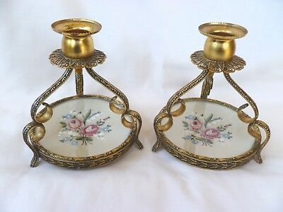 Pair~Genuine~Vintage~English~Ormalu~Petit~Point~Tapestry~Candle~Stick~Holders