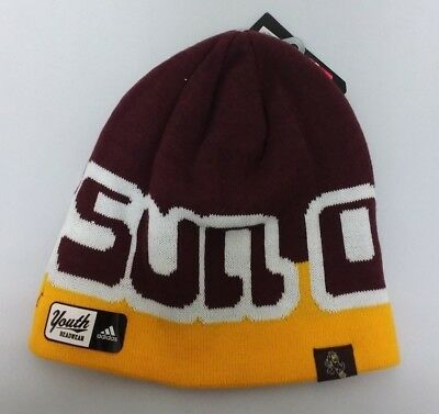 2839848f Arizona State Sun Devils NCAA adidas Youth Fitted Cuffless Knit Beanie Hat  Cap