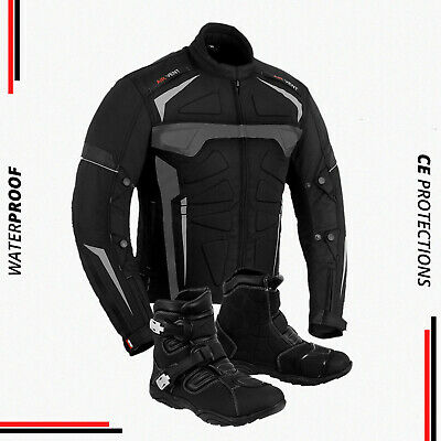 Mens Motorbike Motorcycle Jacket Boot Waterproof Armoured Leather Touring Shoes