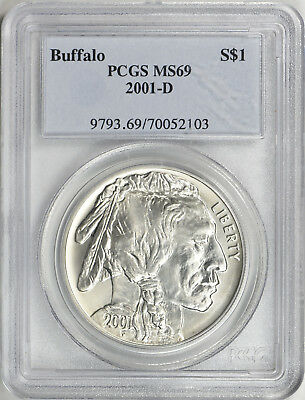 2001-D - Silver American Buffalo Commemorative Dollar - PCGS MS-69-Mint State 69
