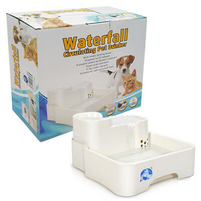 Pet Puppy Dog Cat Drink Fresh Water Drinking Waterfall Fountain Cartridge Pump