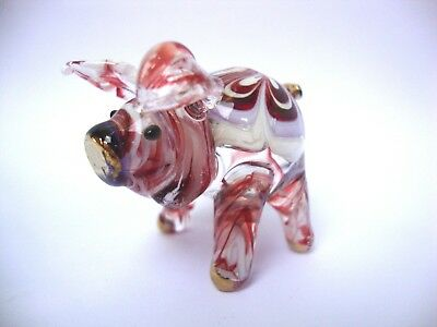 PIG Color Hand Blown Glass Figurine Art With Gold Trim