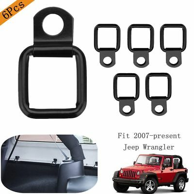 6Pcs Tie-down Lashing D-rings Set For Jeep Wrangler Trunk & Cargo Net Cover