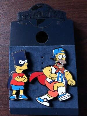**The Simpsons Bart and Homer Superhero Trading Pins Universal Studios New**