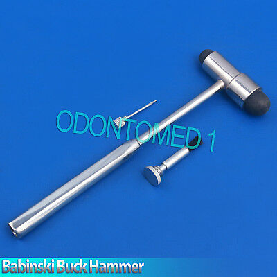 "Babinski Buck Neurological Hammer 7"" Diagnostic Examination, with Pin & Brush"