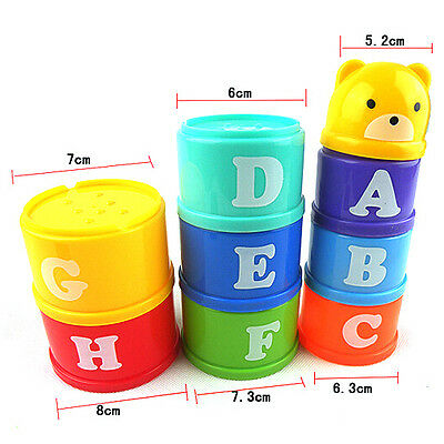 1 Set Kids Educational Toy Baby Children Figures Letters Folding Cup Pagoda Gift