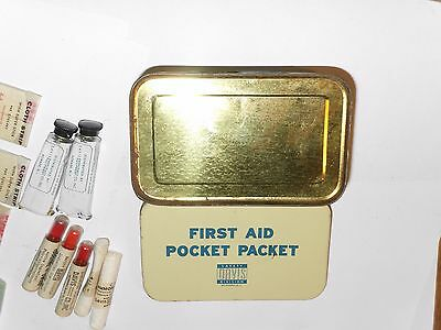 Antique First Aid Packet Vintage Davis Full Safety Tin +Canvas Case & Belt Loop