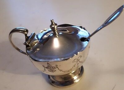 Antique British Round Sterling Silver Covered Mustard Bowl & Spoon(800)Excellent