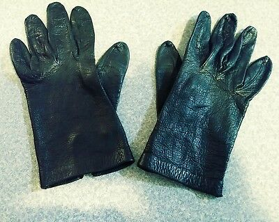 Vintage Leather Driving Gloves Extra Small No Tag Black Pair Wrist Length Nice