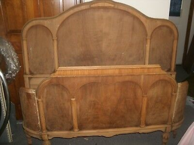 ANTIQUE curved headboard and footboardWOOD BED