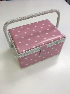 Hobby Gift Pink With White Polka Dot  Medium Sewing Basket