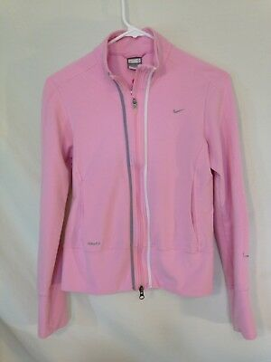 Womens Nike FIT DRY Pink Zip Up Running Jacket Size S
