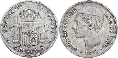 COIN Spain 5 Pesetas 1878 KM# 676 Silver ND in stars