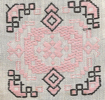 Vintage/antique early 1900s woven silk applique-use in crazy quilt- pink geom.