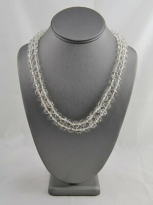 ANTIQUE ART DECO Cut ROCK CRYSTAL Quartz STERLING Hand Knotted NECKLACE Tested