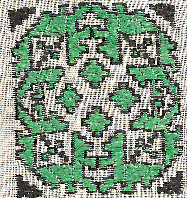 Vintage/antique early 1900s woven silk applique-use in crazy quilt: green geo #1