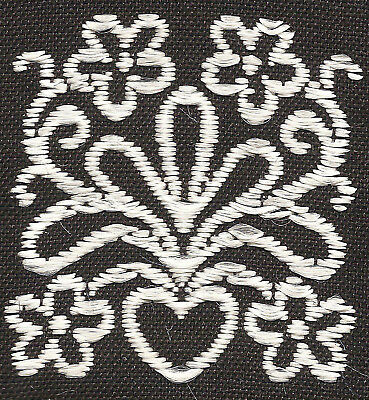 Vintage/antique early 1900s woven silk applique-use in crazy quilt: black/heart