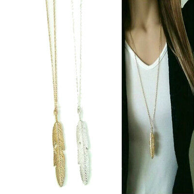Women Feather Pendant Long Chain Necklace Sweaters Statement Vintage Jewel TSCA