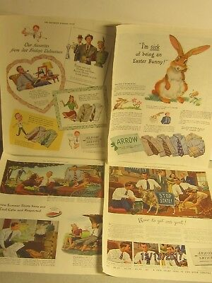 12 Arrow Shirt Ads;1931,'40S Saturday Evening Post;one W.trump Theme;(Donald?)