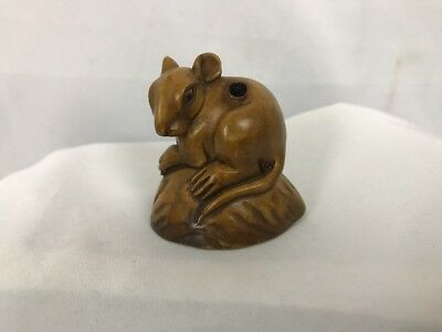 Wood  Netsuke ~ Mouse sitting on a Nut Shell  ~ Signed by Artist