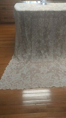 "Antique french Alencon lace tablecloth 82""×64"""
