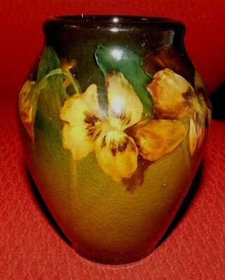 Authentic OLD Rookwood POTTERY Standard Glaze Pansy Floral VASE