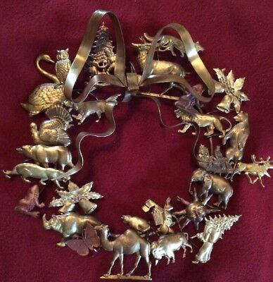 Antique Choses Dresden Brass Holiday Wreath German Christmas Santa Animals Metal