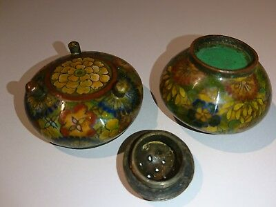 Antique Chinese Cloisonné Cruet Set - High Quality, Fine Detail. Qing Dynasty