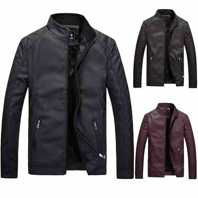 Men's Leisure Leather Jacket Biker Jackets Motorcycle Coat Slim Fit Outwear Tops