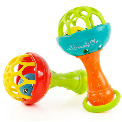 Rattles Develop Baby Kids Intelligence Grasping Gums Hand Bell Rattle Funny Toys