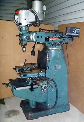"""42"""" x 9"""" Used DELTA Vertical Mill with DRO and 2 Vises"""