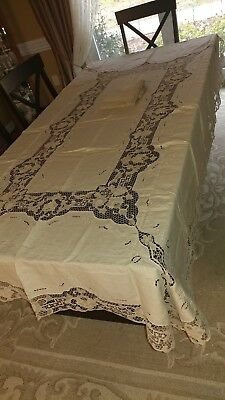 "Vintage Italian Point de Venise lace tablecloth napkins 100""×65"" unused"