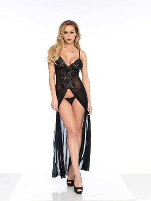 Leg Avenue 2PC. Mesh and lace high slit long gown and  matching G-String panty