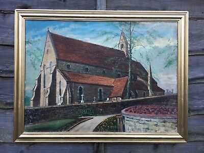 Very Large Vintage Oil Painting In Gold Gilt Frame, Signed