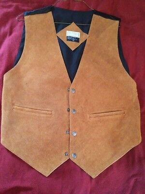 BICA UOMO Brown Black Leather Men's Vest XL Star Snaps Western
