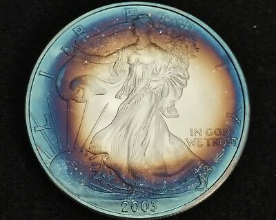 $1. 2003 Silver Eagle, Bu, Mint State, Colorfully Target Toned, 1Oz Bullion Coin