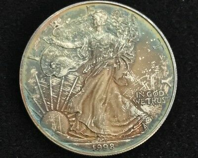 $1. 1998 Silver Eagle, Bu, Mint State, Colorfully Book Toned, 1Oz Bullion Coin