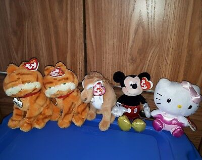 TY Beanie babies lot - Garfield, Ice Age, Hello Kitty, Mickey Tags attached