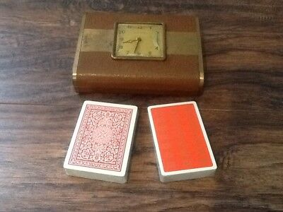 Antique Phinney-Walker Clock/Game Box With Leather Cover & Brass Cards USA