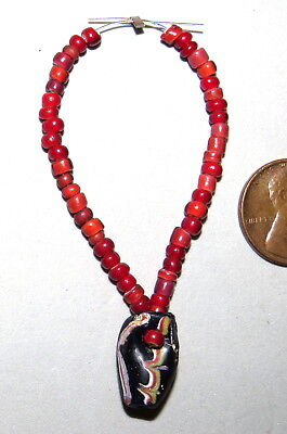 Antique Venetian Trade Bead Made Pendant Red White Hearts