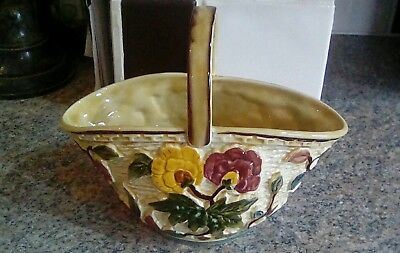 VINTAGE 1930s INDIAN TREE BY H.J. WOOD STAFFORDSHIRE POTTERIES  Basket - W35
