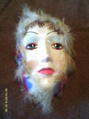 Vintage Price Products Ceramic Mask W/ Feathers - Roc