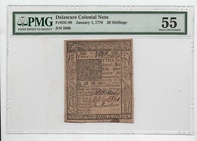 1776  Delaware  20  Shillings  Colonial  Note- Pmg  55  About  Uncirculated