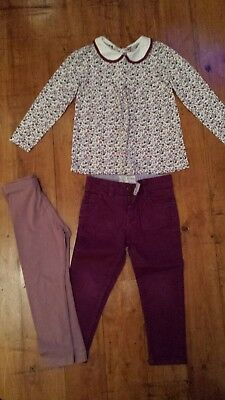 Fat Face plum jeans age 4 TU Peter pan collar flower top bundle age 5 Next legs