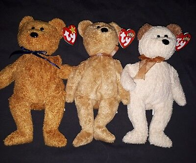 TY beanie baby bear lot - Huggy, Frizz & Cashew