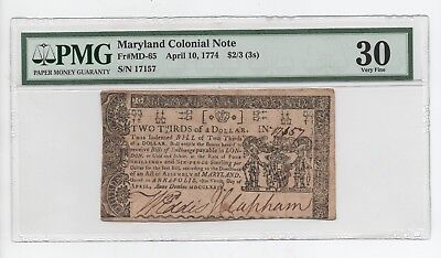 1774  Maryland  $2/3  Dollar  Colonial  Note- Pmg  30  Very  Fine