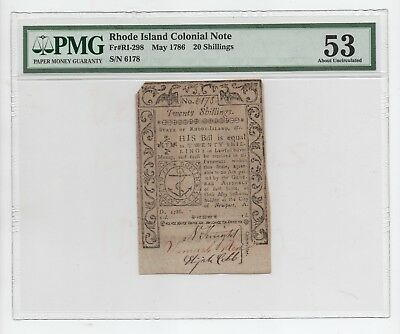 1786  Rhode  Island  20  Shillings  Colonial  Note- Pmg  53  About  Uncirculated