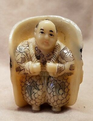 Asian Man With A Large Face Backpack Netsuke Or Necklace Charm From Estate
